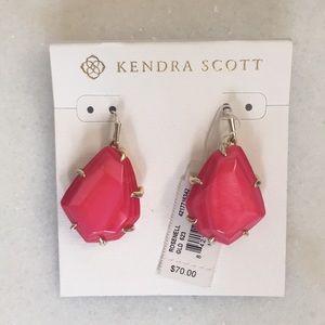 Kendra Scott ruby colored drop earrings